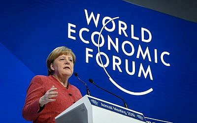 German chancellor Angela Merkel delivers a speech during the World Economic Forum (WEF) annual meeting, on January 23, 2019 in Davos, eastern Switzerland. (Fabrice COFFRINI / AFP)