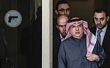 Mohammed al-Emadi (C), chairman of Qatar's National Committee for the Reconstruction of Gaza, arrives for a press conference in Gaza City on January 25, 2019. (Mahmud Hams/AFP)