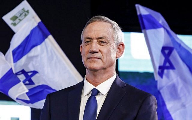 Former Israeli chief of staff Benny Gantz attends an electoral rally in the coastal city of Tel Aviv on January 29, 2019. (Jack Guez/AFP)