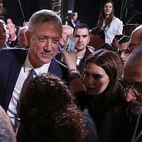 Former Israeli chief of staff Benny Gantz walks among supporters during an electoral rally after delivering his first campaign speech, in Tel Aviv on January 29, 2019. (Jack Guez/AFP)