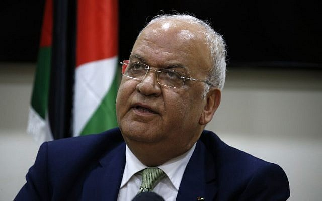 PLO secretary general Saeb Erekat addresses the media following a meeting with diplomats in the West Bank city of Ramallah on January 30, 2019. (Abbas Momani/AFP)