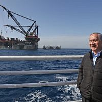 Prime Minister Benjamin Netanyahu during the inauguration of the foundation platform for the Leviathan natural gas field in the Mediterranean Sea on January 31, 2019. (Photo by Marc Israel SELLEM / POOL / AFP)