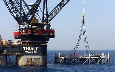 This picture taken on January 31, 2019 shows a view of the SSCV Thialf crane vessel laying the newly-arrived foundation platform for the Leviathan natural gas field in the Mediterranean Sea, about 130 kilometers (81 miles) west of the coast of the Israeli city of Haifa. (Marc Israel Sellem/Pool/AFP)