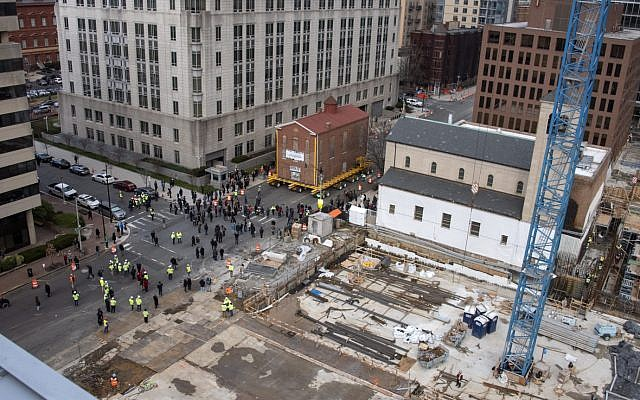 Adas synagogue, the oldest in the capital, being moved to a new location in Washington, DC January 9, 2019. (Ron Sachs/CNP via JTA)