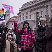 Demonstrators gather at Freedom Plaza during the 2019 Women's March on January 19, 2019 in Washington, DC. (Zach Gibson/Getty Images/AFP)