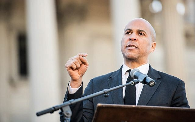 Sen. Cory Booker addresses the crowd during the annual Martin Luther King Jr. Day at the Dome event on January 21, 2019 in Columbia, South Carolina. (Sean Rayford/Getty Images/AFP)