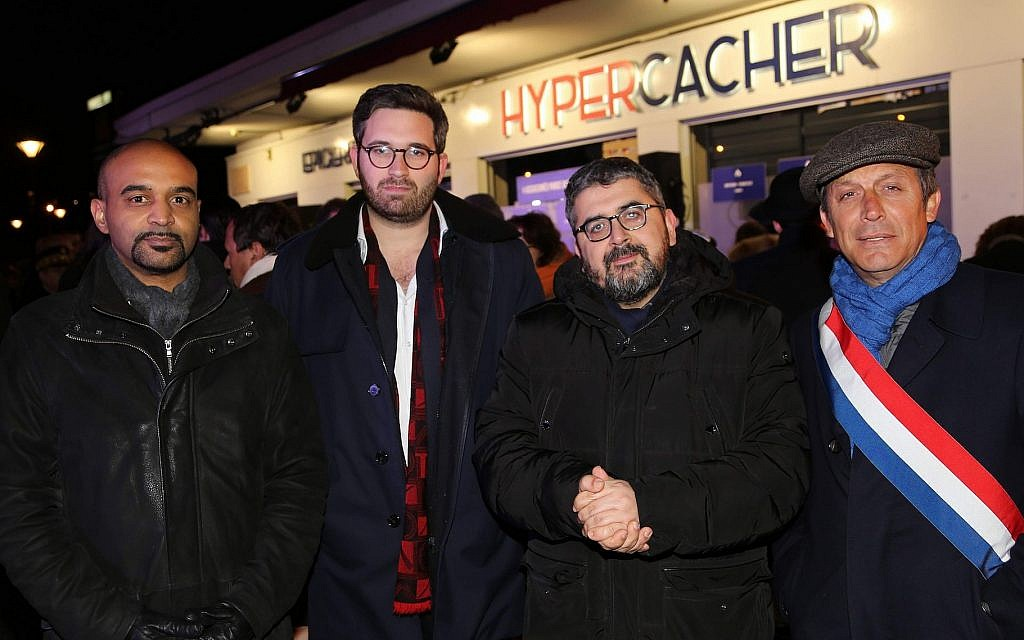 Dominique Sopo, Sacha Ghozlan, Mohamed Sifaoui and Sen. David Assouline attend the annual commemoration for the victims of the 2015 jihadist attack at the Hyper Cacher store in Paris, January 9, 2019. (Alain Azria)