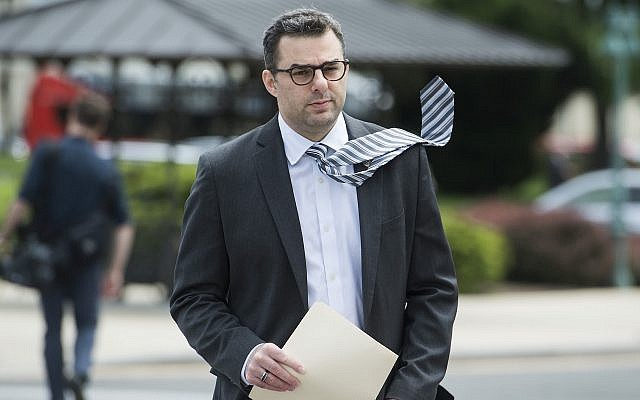 US Rep. Justin Amash arrives at the Capitol before the House passed the Republicans' bill to repeal and replace the Affordable Care Act, May 4, 2017. (Tom Williams/CQ Roll Call/JTA)