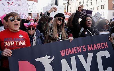 People participating in the 2018 Women's March in New York City, Jan. 20, 2018. (John Lamparski/Getty Images via JTA)