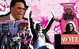 From top left, clockwise: Nation of Islam Leader Louis Farrakhan, a young participant at the 2018 Los Angeles Women's March, Tamika Mallory, Linda Sarsour and Women's March participants in Las Vegas in 2018. (JTA Collage/Farrakhan Photo: Monica Morgan/WireImage/Getty Images; Girl Photo: Chelsea Guglielmino/Getty Images; Mallory, Sarsour and protestors Photos: Ethan Miller/Getty Images)