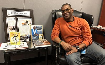 Bryant Johnson, Ruth Bader Ginsburg's personal trainer, in his office in the US District Court in Washington, DC, December 19, 2018. (Ron Kampeas)