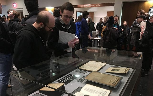 Some 450 people attended a conference at the YIVO Institute for Jewish Research in New York on the history of Yiddish Anarchism, January 20, 2019. (JTA Photo)