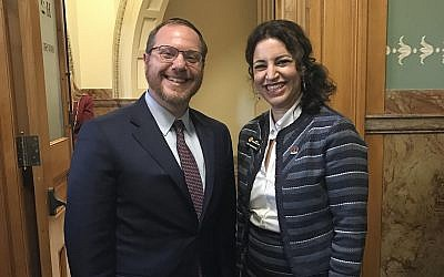 Rabbi Yehiel Kalish attending the swearing-in of Dafna Michaelson Jenet, his sister, at the Colorado House of Representatives in Denver, January 11, 2017. (Courtesy of Michaelson Jenet/via JTA)