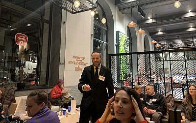 Brian Feldman hosts the Wawa Shabbawa in Philadelphia, January 18, 2019. (Stephen Silver/JTA)