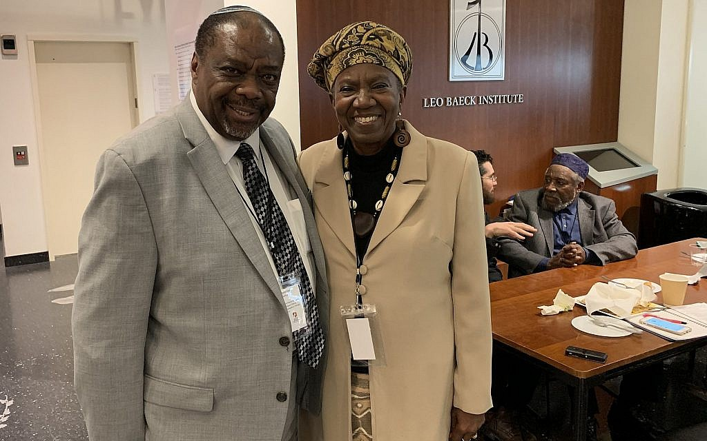 Rabbi Capers Funnye, left, and Martha Leah Williams, at the Jewish Africa Conference in New York, January 29, 2019. (Josefin Dolsten)
