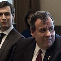 US President Donald Trump speaks as New Jersey Governor Chris Christie (C) and senior adviser Jared Kushner (L) look on during a meeting about opioid and drug abuse in the Cabinet Room at the White House in Washington, DC, on March 29, 2017.  (AFP PHOTO / NICHOLAS KAMM )