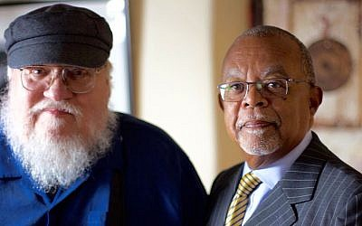 "George R.R. Martin, left, shown with ""Finding Your Roots"" host Henry Louis Gates, Jr., was shocked by his DNA test. (Courtesy of McGee Media/Ark Media via JTA)"