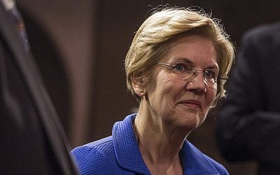 Sen. Elizabeth Warren on Capitol Hill, Jan. 3, 2019. (Zach Gibson/Getty Images/JTA)