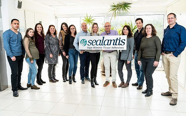 The Sealantis team that has developed medical adhesives that mimic the process that allows algae stick to rocks in water (Nitzan Zohar, Technion spokesperson's office)