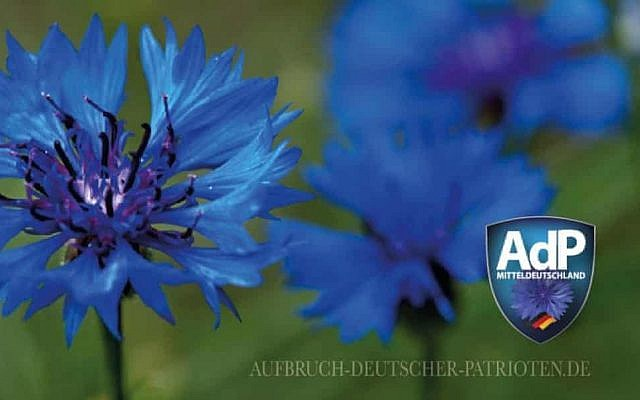 The Awakening of German Patriots party logo features a blue cornflower (Facebook)