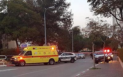 The scene of a stabbing in which a soccer player was injured in Ashdod, January 1, 2019. (Magen David Adom)
