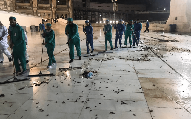 Cleaning crews clear locusts out of the Great Mosque in Mecca, January 7, 2019 (screen capture: Twitter)