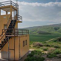 A Jordanian guard tower at the Island of Peace, January 29, 2019. (Luke Tress/Times of Israel)