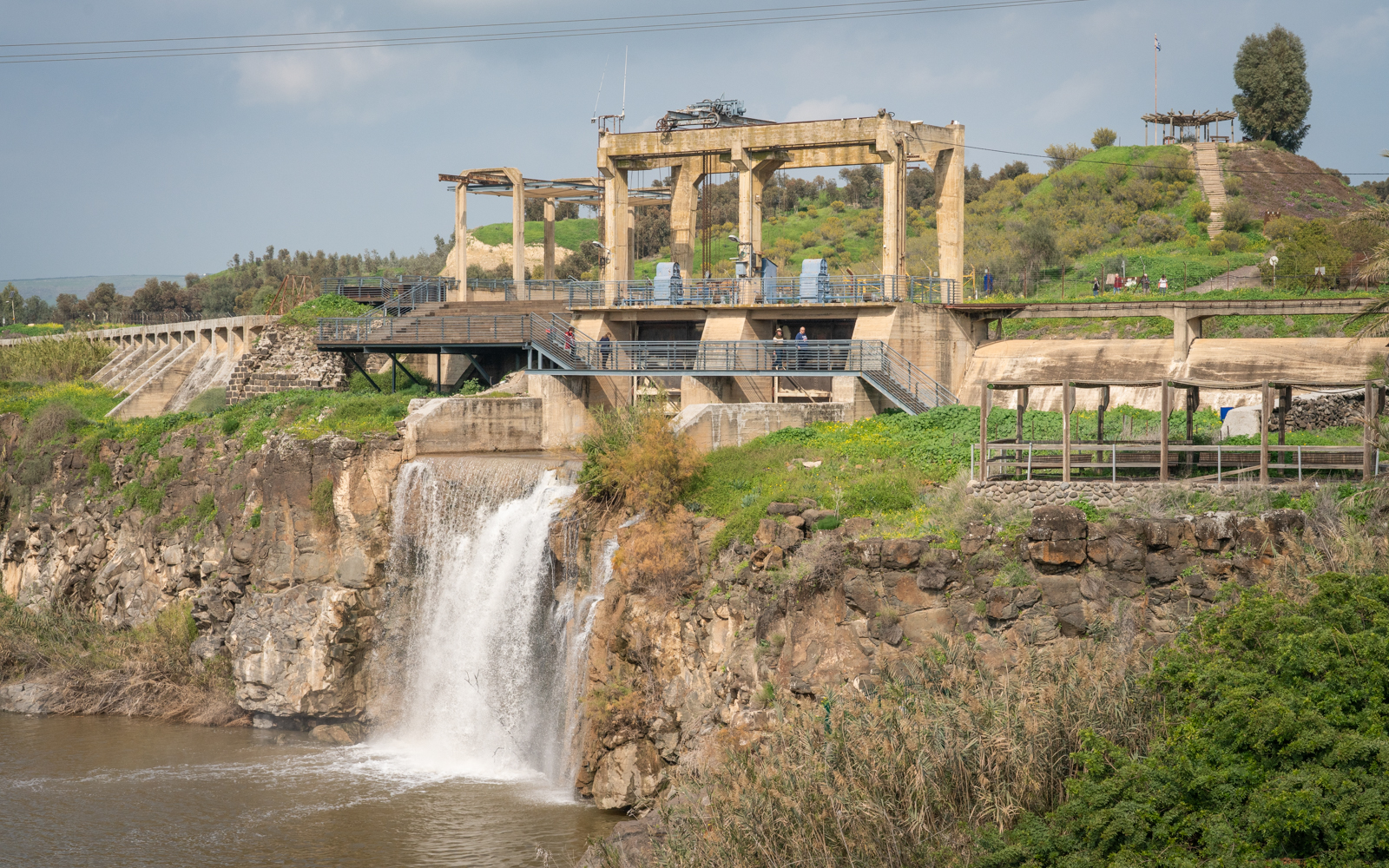 A 1930s hydroelectric power station at Naharayim on the Jordan River, January 29, 2019. (Luke Tress/Times of Israel)