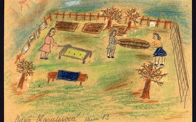 Airing mattresses in the garden by Irena Karplusová (1930-1944) created during the drawing classes in the Terezín Ghetto organized between 1943 and 1944 by the painter and teacher Friedl Dicker-Brandeis (Jewish Museum in Prague)