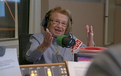 A still of Dr. Ruth Westheimer speaking with WNYC from the film 'Ask Dr. Ruth.' (Courtesy of Sundance Institute/ photo by David Paul Jacobson)