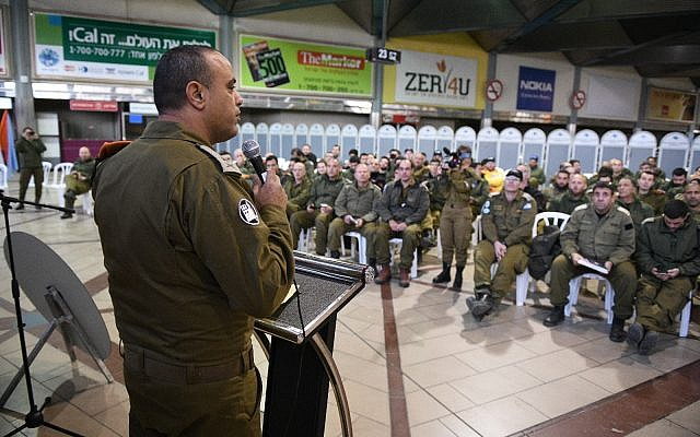 The head of the IDF Home Front Command Maj. Gen. Tamir Yadai, left, speaks to a military delegation preparing to leave for Brazil to perform search and rescue operations in the country after a dam burst, on January 27, 2019. (Israel Defense Forces)