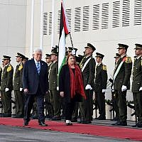 Palestinian Authority President Mahmoud Abbas and Maltese President Marie-Louise Coleiro Preca in Ramallah on January 31, 2019. (Wafa news agency)