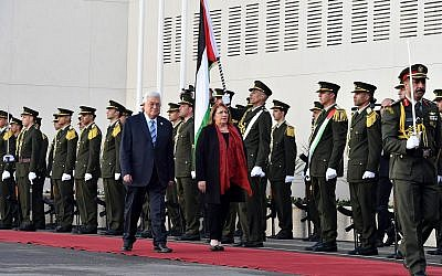Palestinian Authority President Mahmoud Abbas and Maltese President Marie-Louise Coleiro Preca in Ramallah on January 31, 2019. (Wafa news agency)