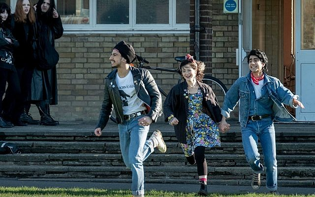 Viveik Kalra, Nell Williams, and Aaron Phagura appear in 'Blinded by the Light' by Gurinder Chadha. (Courtesy of Sundance Institute/ photo by Nick Wall)