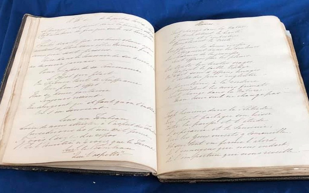 Two pages of the manuscript found in the Victorian album bought by Karen Ievers. (Renee Ghert-Zand/TOI, © Karen Ievers)