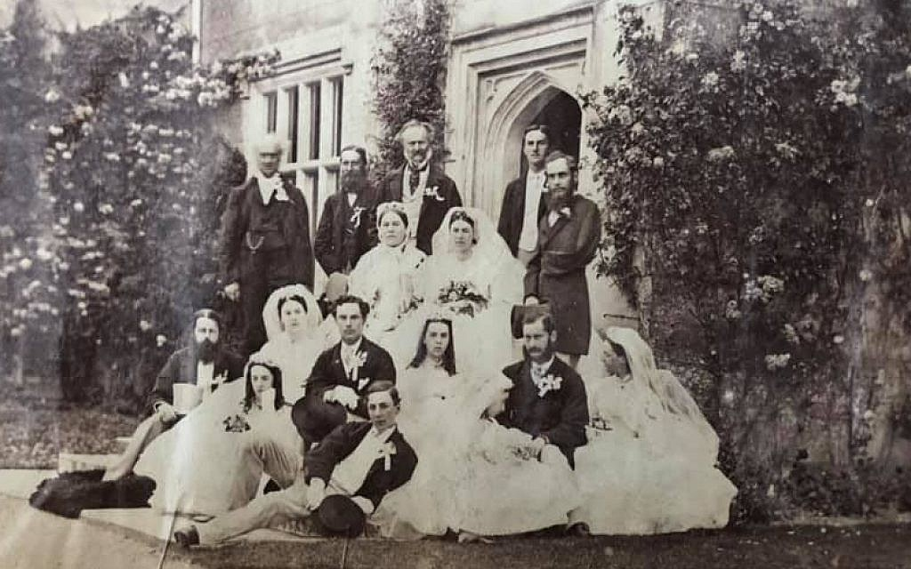 Wedding at Chawton House, England in 1865 of Elizabeth Knight (great-niece of Jane Austen to Capt. Edward Bradford, who lost his arm in a tiger attack and later became the head of the Metropolitan police. (Renee Ghert-Zand/TOI, © Karen Ievers)