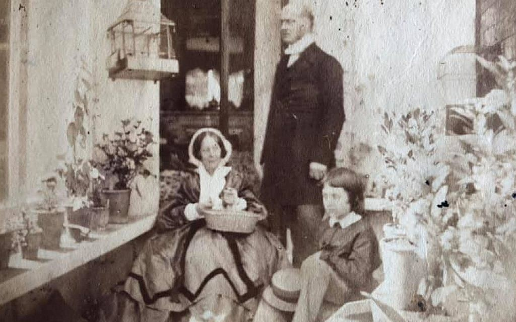 Marianne Knight and Rev. Charles Knight (Jane Austen's niece and nephew) with their sister Louisa's son Master George Marcus Wansbeck Hill. Picture likely taken at Chawton rectory house in England, where Marianne lived with Charles. (Renee Ghert-Zand/TOI, © Karen Ievers)