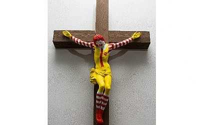 "The ""McJesus"" sculpture by Finnish artist Jani Leinonen on display at the Haifa Museum of Art. (Haifa Museum of Art)"