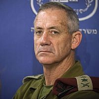 In this photo from July 31, 2014, then-IDF chief of staff Lt. Gen. Benny Gantz attends a cabinet meeting at the Defense Ministry in Tel Aviv. (AP Photo/Dan Balilty, Pool, File)