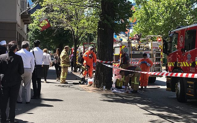 Hazmat and fire crews work outside the Indian and French Consulate in Melbourne, Australia Wednesday, Jan. 9, 2019. (Kaitlyn Offer/AAP Image via AP)