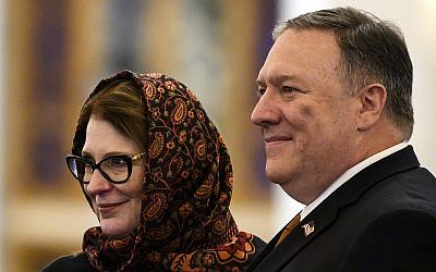 US Secretary of State Mike Pompeo and his wife Susan pose for a photo as they tour the newly inaugurated Cathedral of the Nativity Christ, in Egypt's New Administrative Capital, east of Cairo, Thursday, January 10, 2019. (Andrew Caballero-Reynolds/Pool Photo via AP)