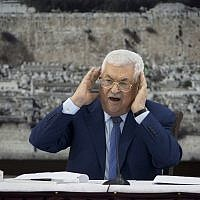 Palestinian Authority President Mahmoud Abbas speaks during a meeting of the Palestinian leadership in the West Bank city of Ramallah, on December 22, 2018. (AP Photo/ Majdi Mohammed, File)