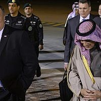 US Secretary of State Mike Pompeo, left, is greeted by Saudi's Minister of State for Foreign Affairs Adel al-Jubeir, center, in Riyadh on January 13, 2019. (Andrew Caballero-Reynolds/pool photo via AP)