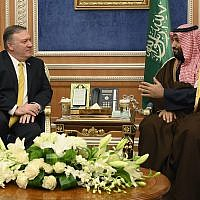 Saudi Crown Prince Mohammed bin Salman, right meets with US Secretary of State Mike Pompeo at the Royal Court, in Riyadh, Saudi Arabia, January 14, 2019. (Andrew Cabellero-Reynolds/Pool via AP)