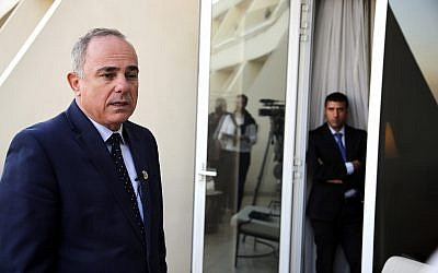 Energy Minister Yuval Steinitz, speaks during an interview with The Associated Press, in Cairo, Egypt on 40+, 2019. (AP Photo/Amr Nabil)