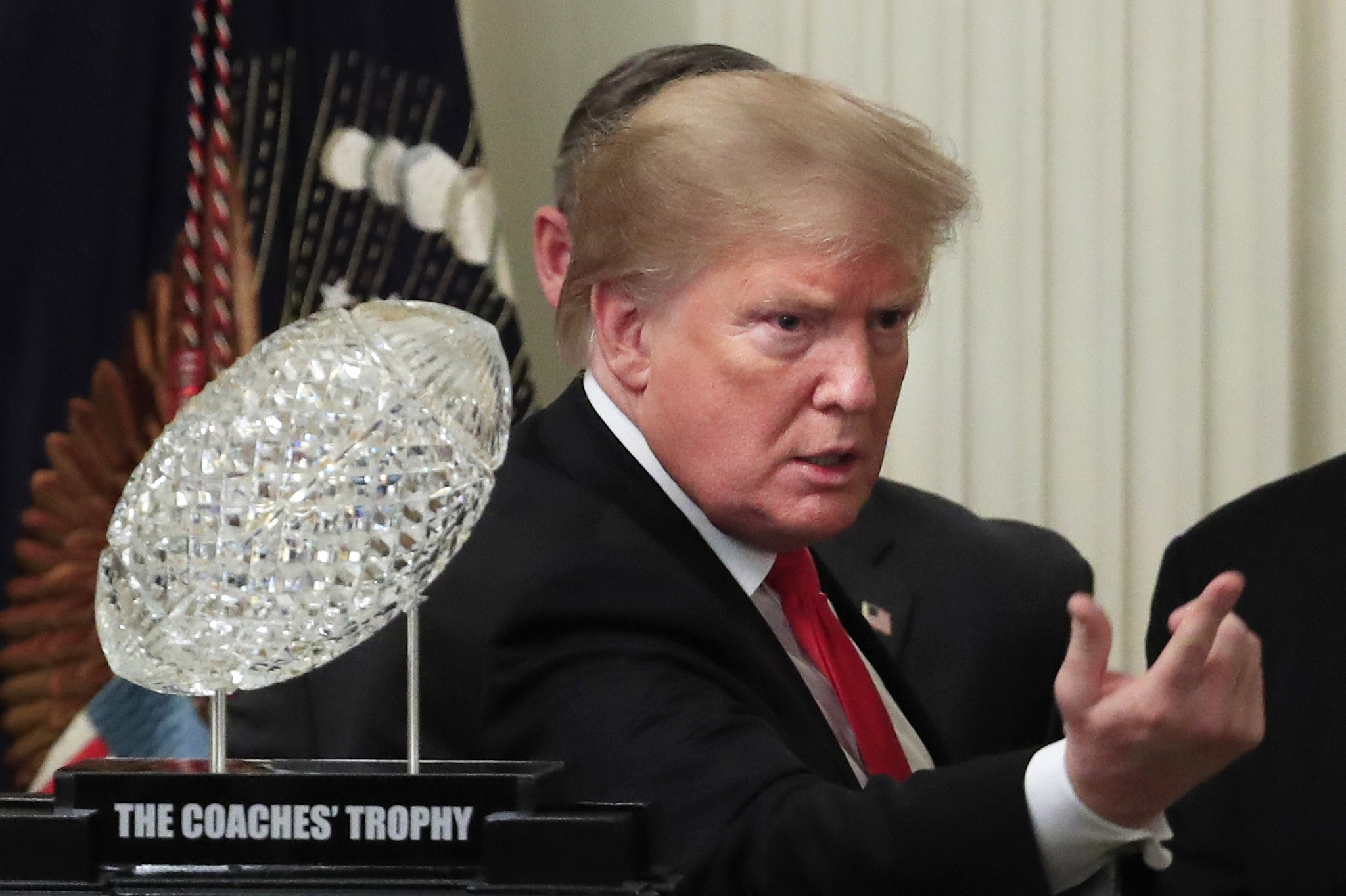 Trump proudly serves '1,000 hamberders' to Clemson football team