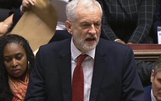 Illustrative: Labour leader Jeremy Corbyn speaks after Britain's Prime Minister Theresa May lost a vote on her Brexit deal in the House of Commons, London, Tuesday January 15, 2019. (House of Commons/PA via AP)