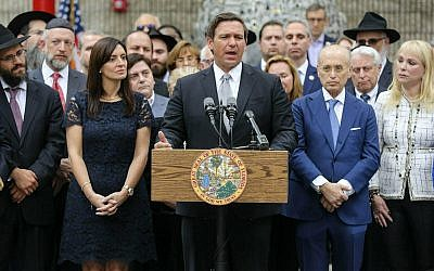 Florida Gov. Ron DeSantis speaks at a press conference at the Jewish Federation of South Palm Beach County in Boca Raton, Florida, January 15, 2019. (Bruce R. Bennett/Palm Beach Post via AP)