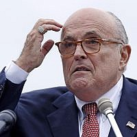 In this August 1, 2018 photo, Rudy Giuliani, an attorney for US President Donald Trump, addresses a gathering during a campaign event in Portsmouth, New Hampshire. (AP Photo/Charles Krupa)