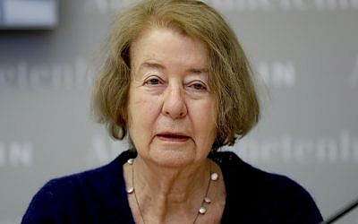 Hilde Schramm, daughter of Hitler's architect Albert Speer, receives the Jewish history award for a foundation she founded to support Jewish women's cultural projects. January 21, 2019. (AP Photo/Michael Sohn)